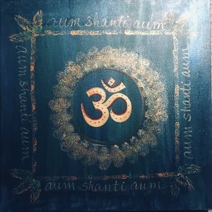 Teal Aum & Gold Painting